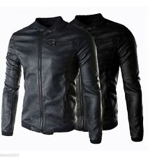 Leather Jacket New Men's Slim Fit Designed Casual With Belt Winter SALE PU Coat