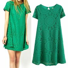 Lace Hollow Floral Women's Casual Home Office Party Short Sleeve Flared Dress