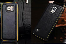 Genuine Cowhide Leather Cover Case Metal Bumper For Samsung Galaxy Note 4 or S6