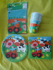 FARM ANIMALS TABLEWARE - 8 or 16 BIRTHDAY PARTY cups,napkins,plates,tablecover