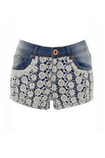 Women's Crochet Lace Front Denim Shorts Hot Pants Light Blue
