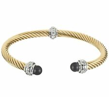 QVC Stainless Steel Twisted Rope Cuff Bracelet with Cat's Eye Endcaps