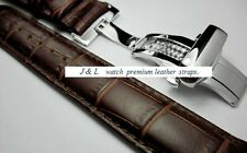 Watch GENUINE leather BROWN Strap Band Butterfly Deployment Buckle 18,19,20,22mm