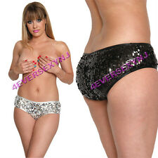 SEXY Black or Silver Sparkling Sequin Covered Stretch Booty Style Shorts