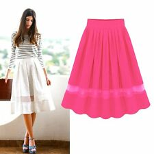 Women's Chiffon High Waist Skirt Pleated Sexy Swing Skirt Knee Length Dress