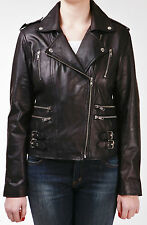 Ladies Real 100% Leather Short Fitted Bikers Style Retro Black Rock Jacket
