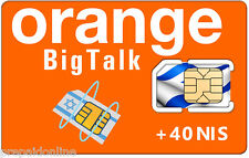 Orange Israel Prepaid Activated SIM Card + 40 Shekel credit - Any Size SIM Card