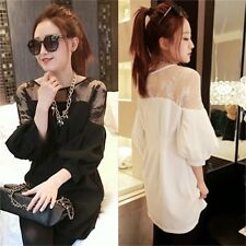 Korean Style 3/4 Sleeve Blouse Lace Patchwork Pullover Top Women's Loose Shirt