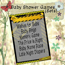Print your Own Baby Shower Games - CAUTION/Danger - Bingo/Wishes/Memory, etc
