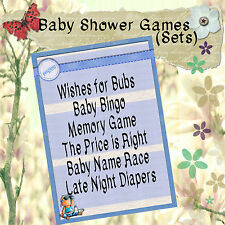 Print Your Own Baby Shower Games - Baby Blue - Bingo/Wishes/Memory, etc