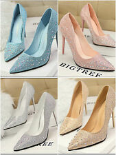 WOMENS LADIES CRYSTAL PARTY PROM BRIDAL HIGH HEEL SHOES SIZE