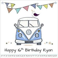 Quality Personalised BIRTHDAY CARD ~ AGE & NAME / RELATION, Campervan Boys Mens
