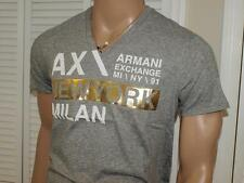 Armani Exchange Bold Type Cluster V neck T Shirt Heather Grey NWT