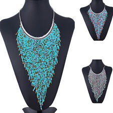Fashion Statement Long Beads Bib Tassel Collar Necklace Trendy Jewelry Chain