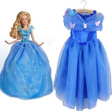 2015 Cinderella Dress With  LaceTulle Kids Girls Cosplay Costume Blue Dress
