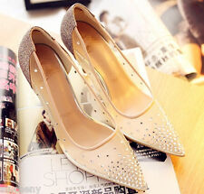 Ivory beige Women lace crystal heels Bridal Wedding shoe pumps M size US sexy