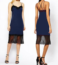 Midi Navy Cami Dress With Lace Trim in style of  Carrie Bradshaw 8 10 12 new s