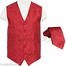 RED MEN'S XS - 6XL Paisley Tuxedo Suit Dress Vest Waistcoat & Neck tie Wedding