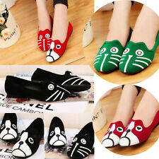 Women Personality Cute Cat Dog Face Loafers Low Heel Ballet Flats Shoes EQ588