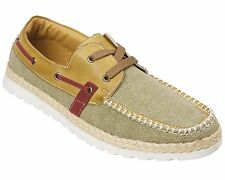 Mens Canvas Boat Shoes Size 6 to 11 UK - CASUAL WALKING DECK TRAVEL  -  F825