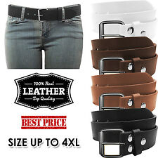 NEW Women's Thick Wide Leather Removable Brush Silver Buckle Solid Fashion Belt
