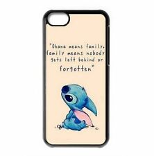 Disney OHANA Lilo & Stitch Quote Cute Apple iPhone Hard Case Cover