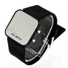 Classic Lady Men Child Mirror LED Date Sport Rubber Silicone Digital Wrist Watch