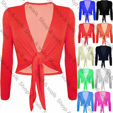 Womens Ladies Front Tie Cropped Wrap Draped Bolero Shrug Top Cardigan Plus Size