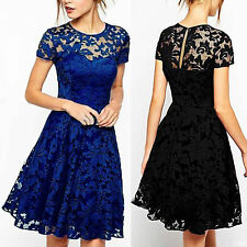 Lady Womens Formal Floral Lace Party Vintage Wedding Cocktail Evening Dress NEWL