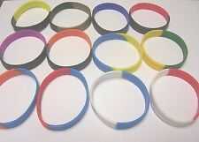 6 SILICONE RUBBER 2-COLOR BLANK BRACELETS WRISTBAND GRADUATION FREE SHIPPING NEW