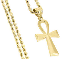 "Ankh Cross Egyptian Pendant Charm Mens 1/20th 10k Yellow Gold & 20"" Rope Chain"