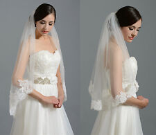 Romantic One Layer Wedding Veils With Lace Bridal Veil For Wedding Accessories