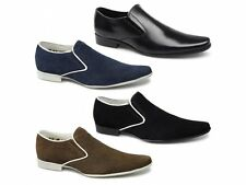 Lucini PRIMO Mens Leather Suede Twin Gusset Square Casual Slip On Loafers Shoes