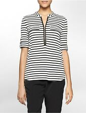 calvin klein womens striped partial zip front roll-up sleeve top