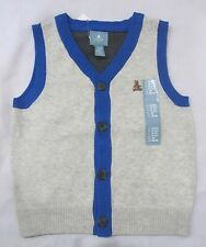 NWT BABY GAP Boys Sweater Button Down Vest Gray Blue Sz 3-6m, 18-24