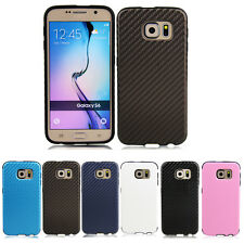 For Samsung Galaxy S6 Carbon Fiber Texture PU Leather Protective Case Cover
