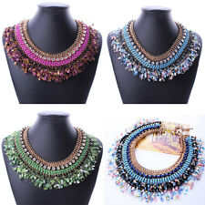 Luxury Multilayer Gold Chain Charm Crystal Big Statement Collar Choker Necklace