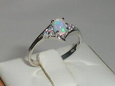 Ladies Solid 925 Silver Ethiopian Opal Solitaire & White Sapphire Accents Ring