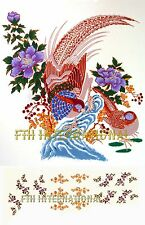 G14 ~ Real Gold Oriental Pheasant Ceramic Decals, 5 sizes, Small Accent Flowers