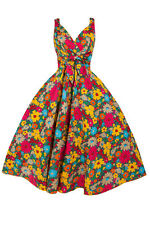 BETTY BOO FLORAL PRINT VINTAGE 50'S STYLE SWING DRESS MULTICOLOUR FLORAL -10-18