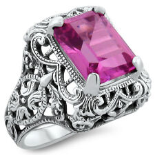 4 CT. PINK LAB SAPPHIRE ANTIQUE ART DECO .925 STERLING SILVER RING,         #355