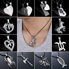 Fashion Men Women Stainless Steel Silver Pendant Leather Necklace Jewelry Gifts