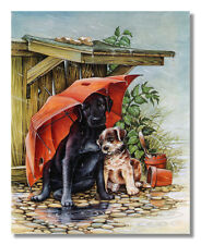 Two Puppy Dogs with Umbrella Shelter from the Rain Wall