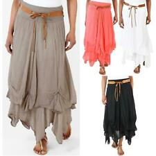 Womens Belted Boho Gypsy Tiered Asymmetric Hitched Hem Long Maxi Skirt Festival