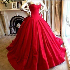 Handmade Ball Gown Women's Fashion Red Sweetheart Prom Long Evening Dresses