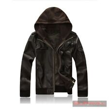Mens Leather Jacket with Detachable Hood Designer Outer Wear Brown