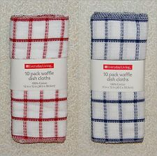 "10 WAFFLE Weave Cotton Dish Cloths Rags Kitchen Towels Red or Blue 12"" x 12"""