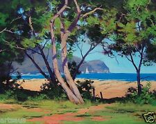 Patonga beach oil painting Ocean Wall art coastal Trees Landscape by G.Gercken