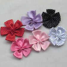 30PCS Ribbon Flowers Bows W/ Dots Appliques Wedding Decor Lots Mix Bulk A0378