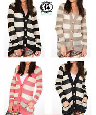 Mesdames cardigan rayures longue plus taille knit crochet blouse top pull blazer vintage